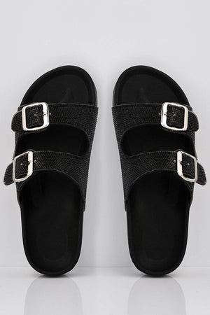 Black Diamante Embellished Double Buckle Sliders