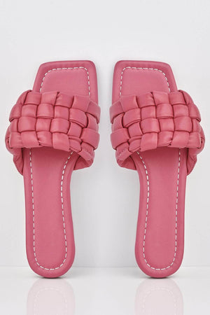 Fuchsia Woven Padded Leather Look Sliders