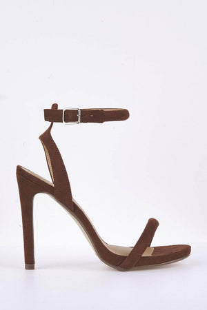 Brown Suede Barely There Heels