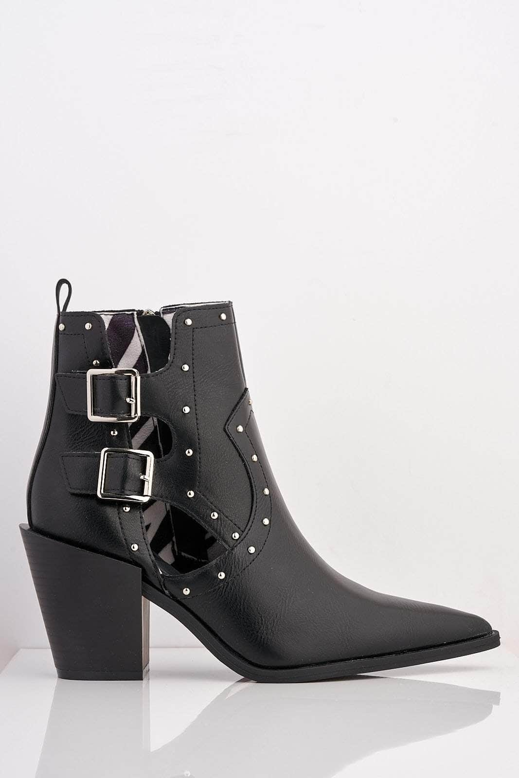 Black Pu Pointed Ankle Boots with Stud & Buckle Embellishment