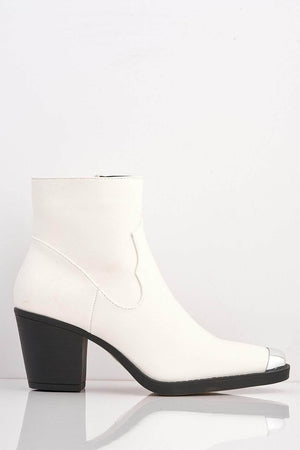 White Western Ankle Boots with Metal Toe Cap