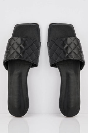 Black Square Quilted Pu Sliders