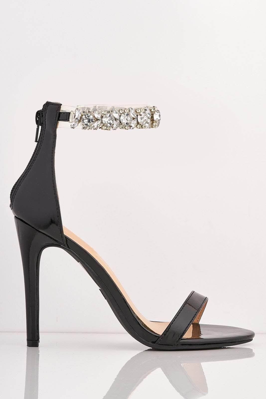 Black Patent Heels with Diamante Gem Strap