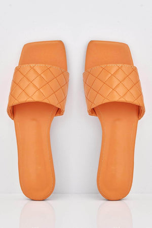 Orange Square Quilted Pu Sliders