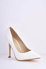 White Patent Pointed Court Shoe Heels