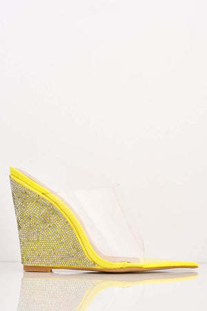 Yellow Patent Dagger Perspex Diamante Wedges