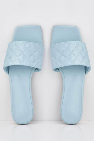 Light Blue Square Quilted Pu Sliders