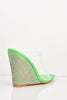Green Patent Dagger Perspex Diamante Wedges