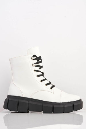 White Pu Chunky Contrast Hiking Boots
