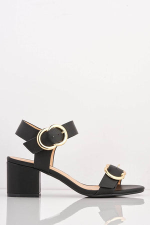Black Pu Midi Block Sandals with Gold Buckle
