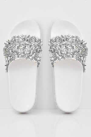 White Mirror Diamante Shard Embellished White Sliders