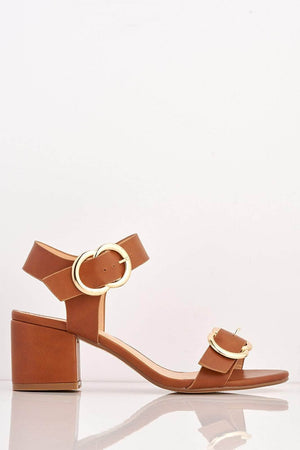 Tan Pu Midi Block Sandals with Gold Buckle