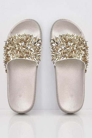 Silver Mirror Diamante Shard Embellished Sliders