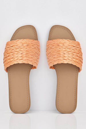 Orange Straw Woven Sliders