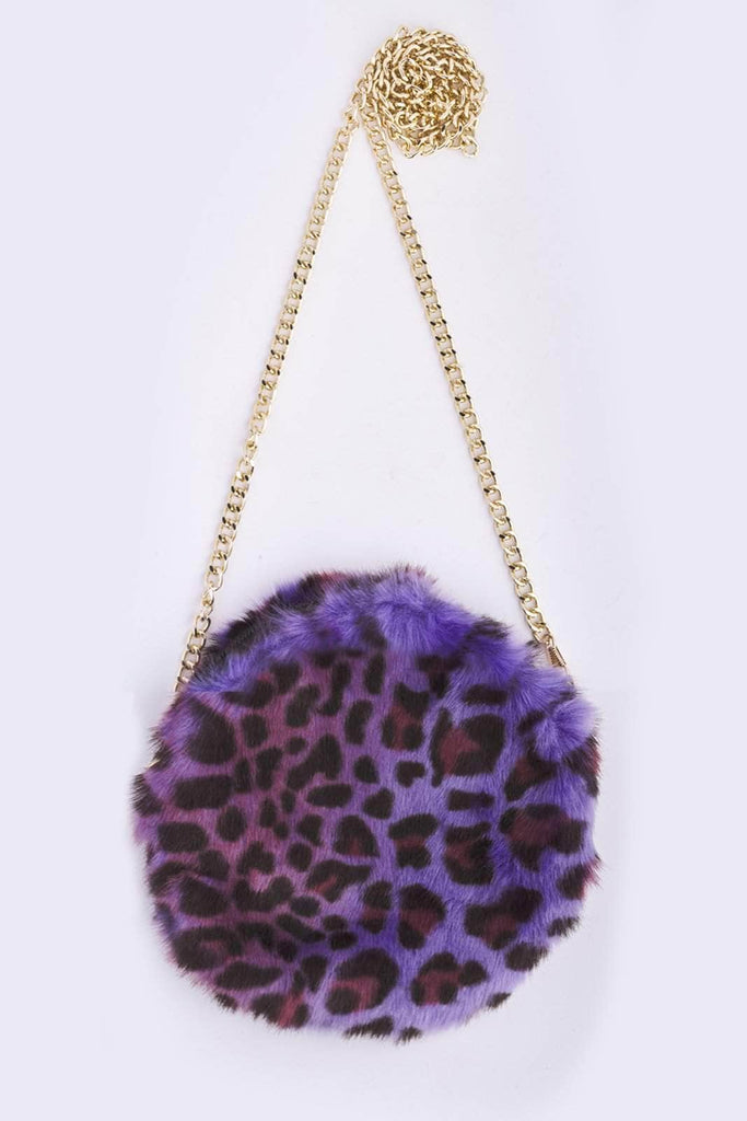 Purple Leopard Circle Bag