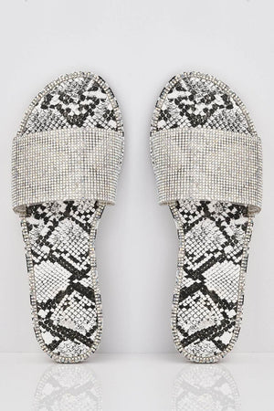 White Snake Diamante Embellished Sliders