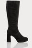 Black Croc Microfibre Knee High Boots