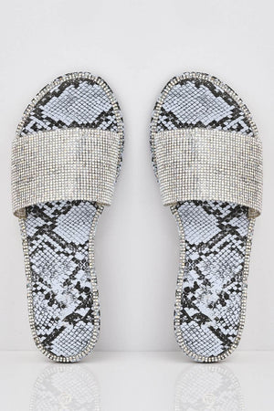 Blue Snake Diamante Embellished Sliders