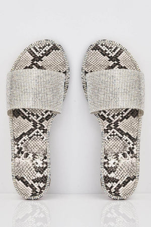 Beige Snake Sliders with Silver Diamante Strap