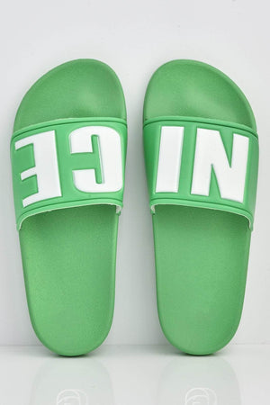 Neon Green 'Nice' Slogan Sliders