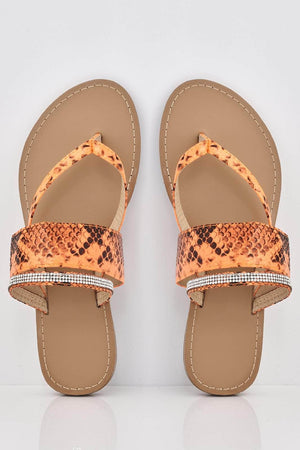 Orange Snake Cut Out Diamante Flat Sandals