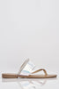 Silver Iridescent Cut Out Diamante Flat Sandals