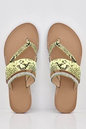 Yellow Snake Cut Out Diamante Flat Sandals