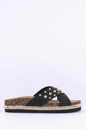 Black Pu Studded Crossover Strap Slides