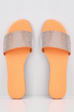 Orange Croc Diamante Embellished Sliders