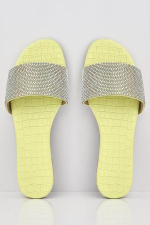 Yellow Croc Diamante Embellished Sliders
