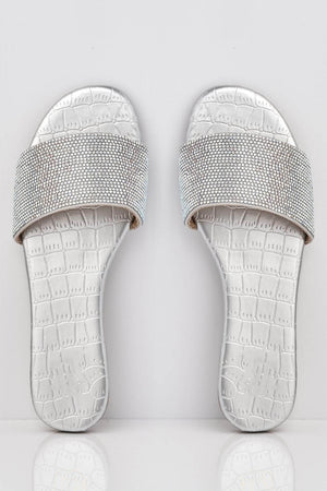 Silver Croc Diamante Embellished Sliders