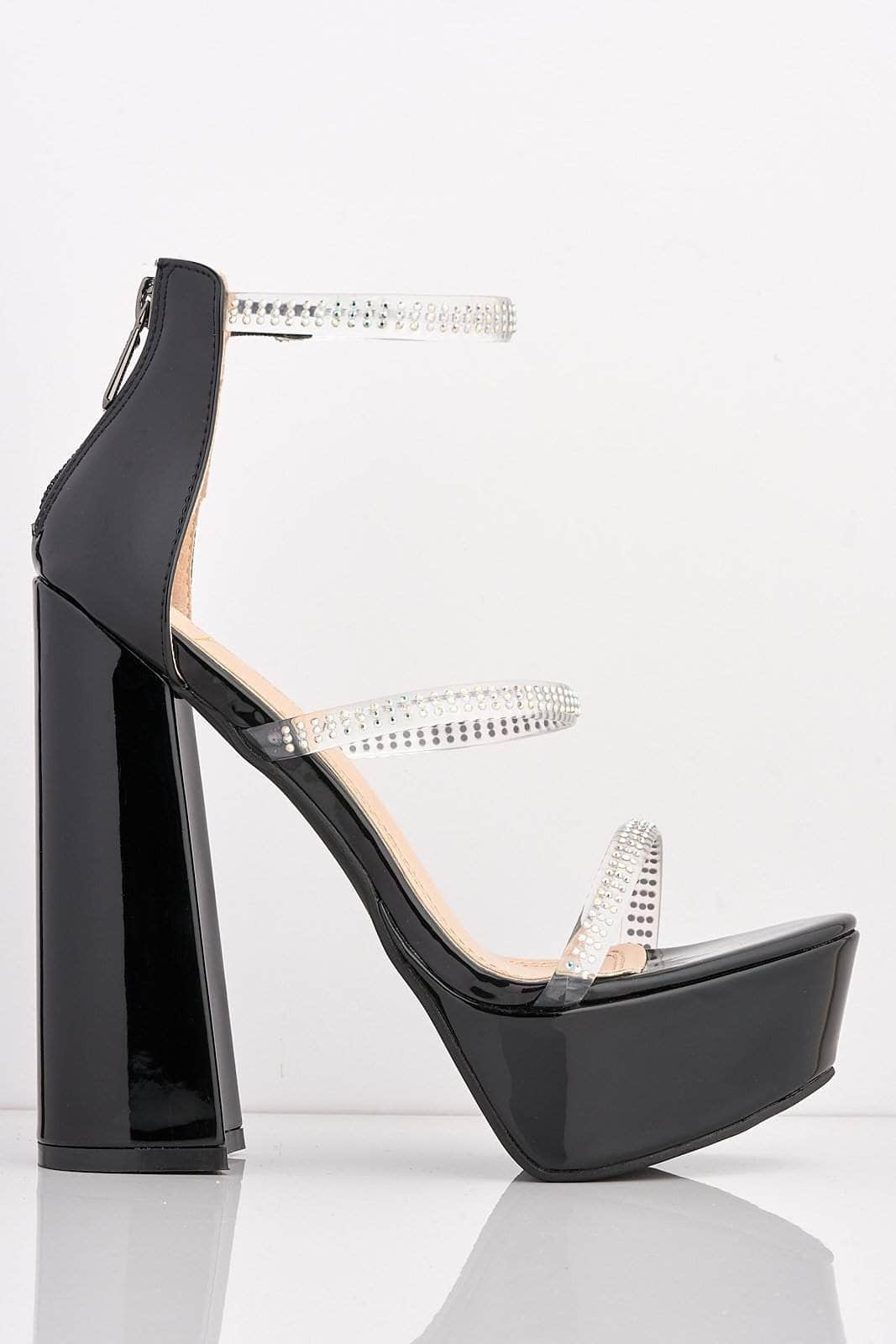 Black Patent Platform Diamante Gel Block Heels