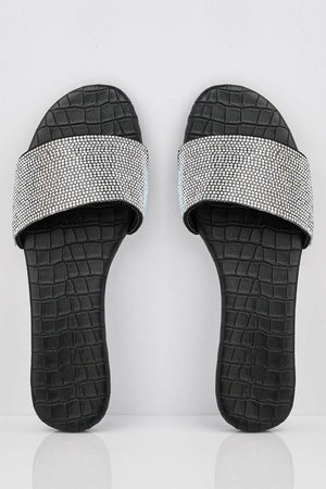 Black Croc Pu Sliders with Diamante Strap