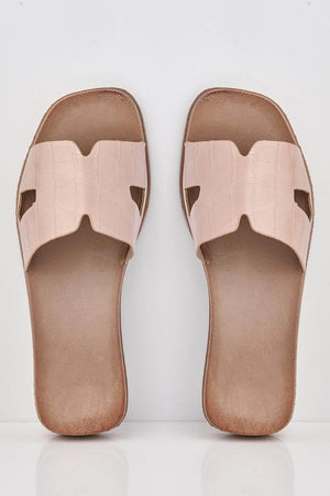 Pink Croc Pu Cut Out Sliders