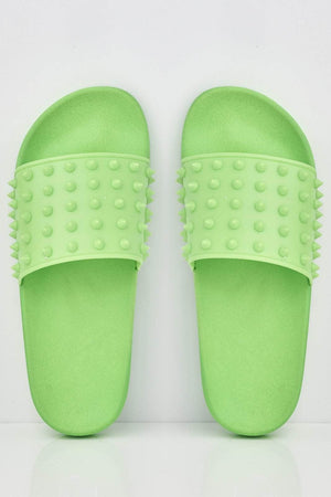 Neon Green Spike Studded Sliders