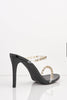 Black Patent Diamante Gel Strap Heels