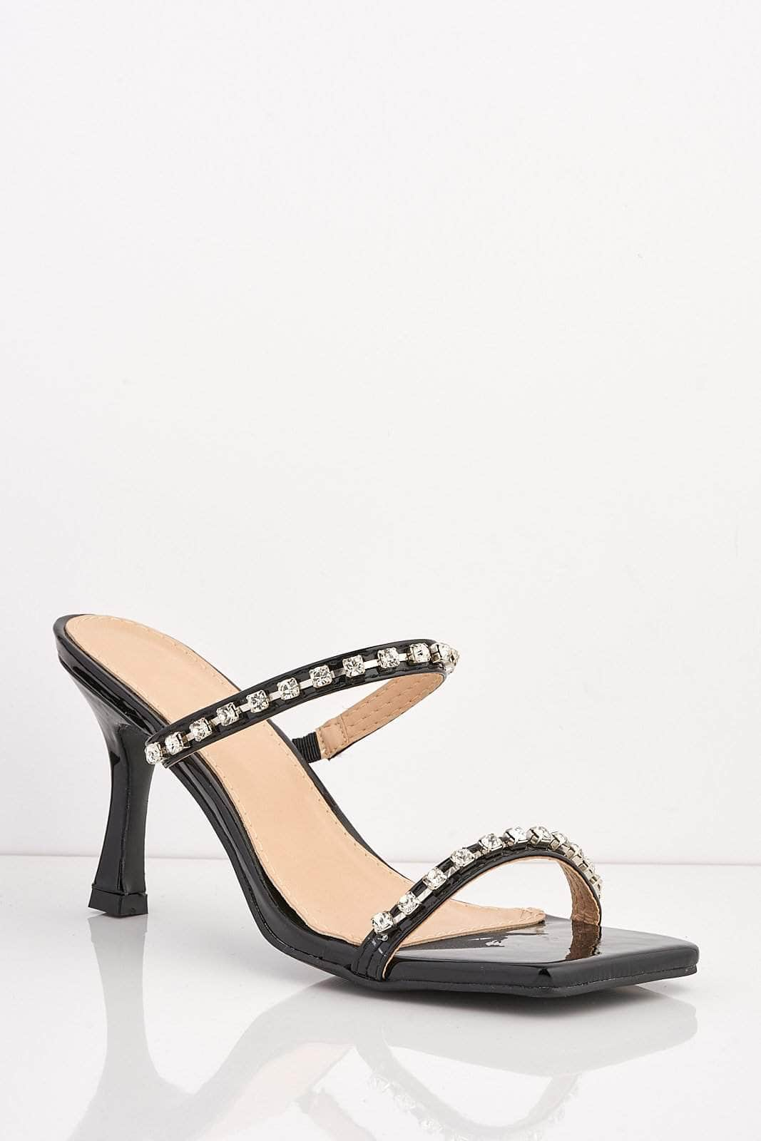 Black Patent Square Diamante Kitten Heels