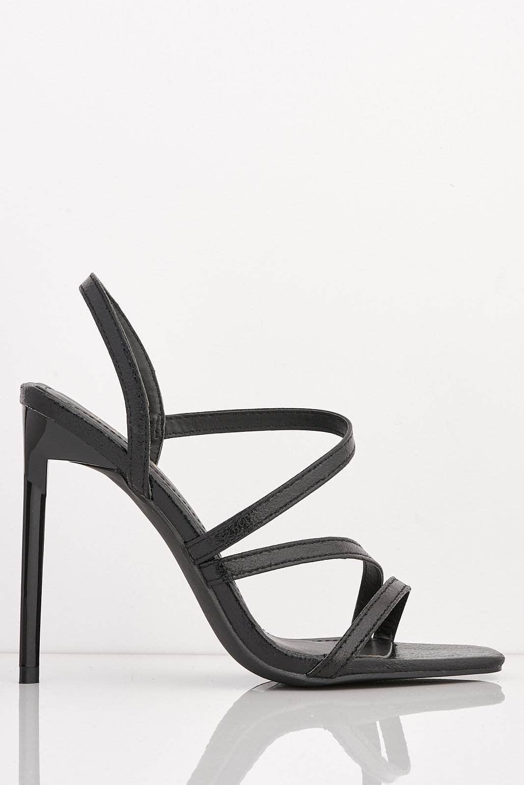 Cracked Black Pu Square Strappy Heels