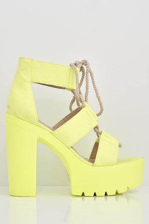 Neon Yellow Lace Up Platform Heels