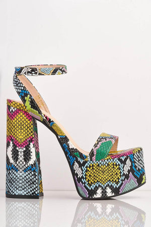 Multicoloured Snake Pu Platform Heels
