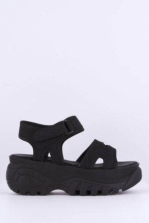 Black Net Chunky Sports Sandals