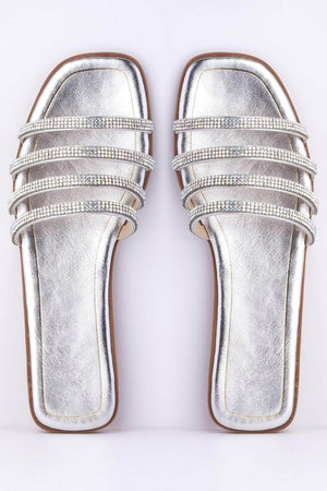 Silver Diamante Square Toe Sliders