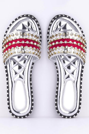 Silver & Red Diamante Sliders