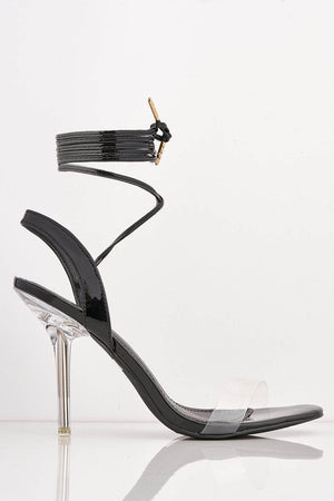 Black Patent Open Toe Heels with Perspex Heel
