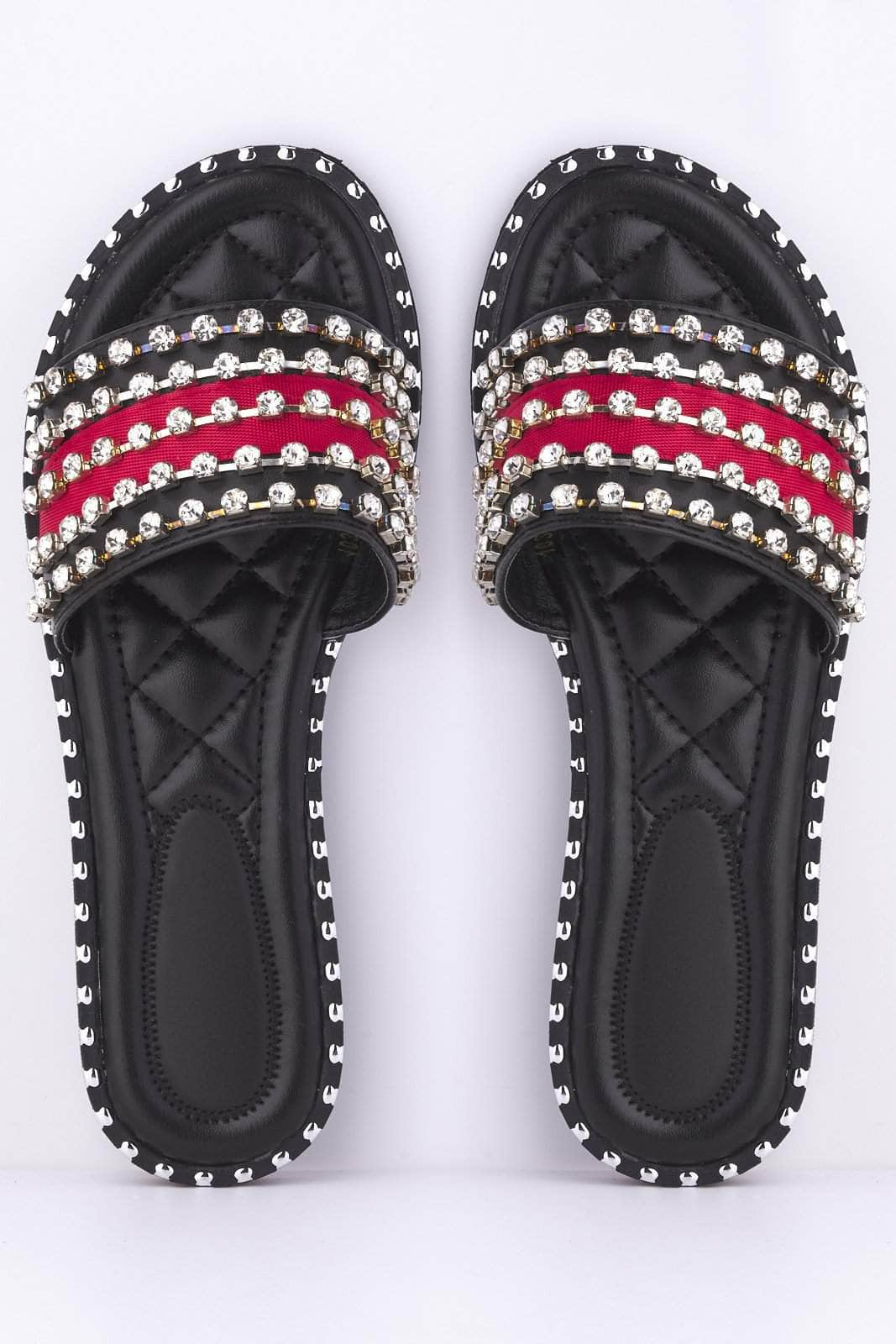 Black & Red Diamante Sliders