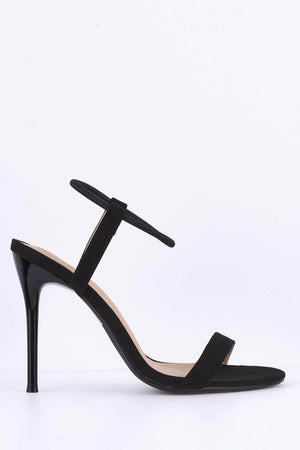 Black Suede Elastic Barely There Heels