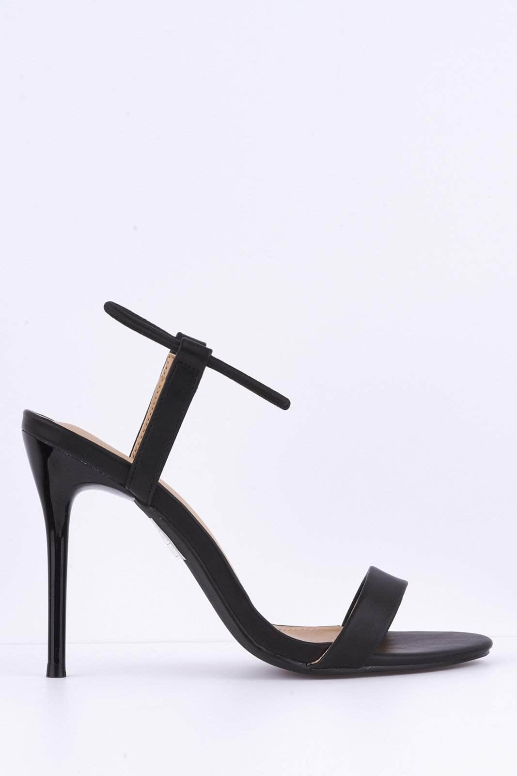 Black Pu Elastic Barely There Heels