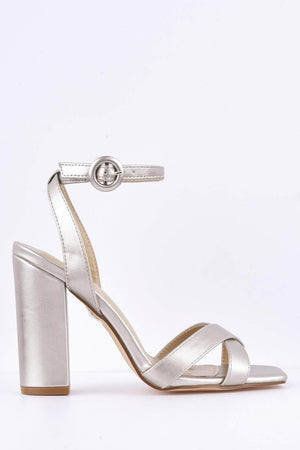 Silver Metallic Pu Crossover Square Toe Sandals