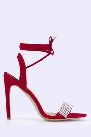 Red Suede Diamante Toe Strap Heels