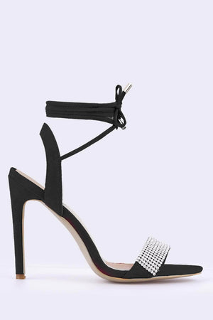 Black Suede Diamante Toe Strap Heels